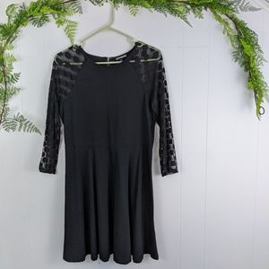 Express sheer polka dot sleeve dress